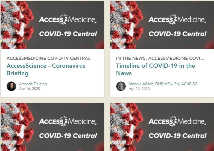 Thông  báo nguồn học liệu miễn phí về Covid-19 - AccessMedicine Covid-19 Central